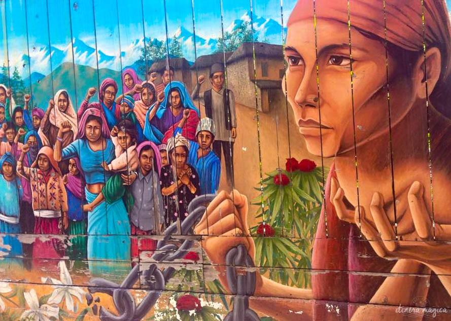 Fresque commémorant la lutte des paysans indiens.