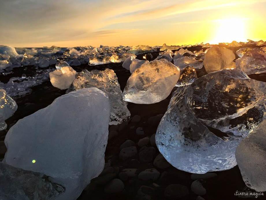 Le lagon glaciaire de Jökulsarlon sous le soleil d'hiver, vu par ma tante Florence.