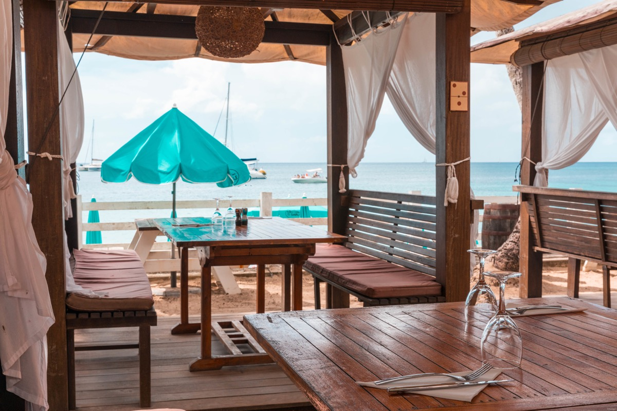 Beach restaurant and beachfront hotels in Martinique