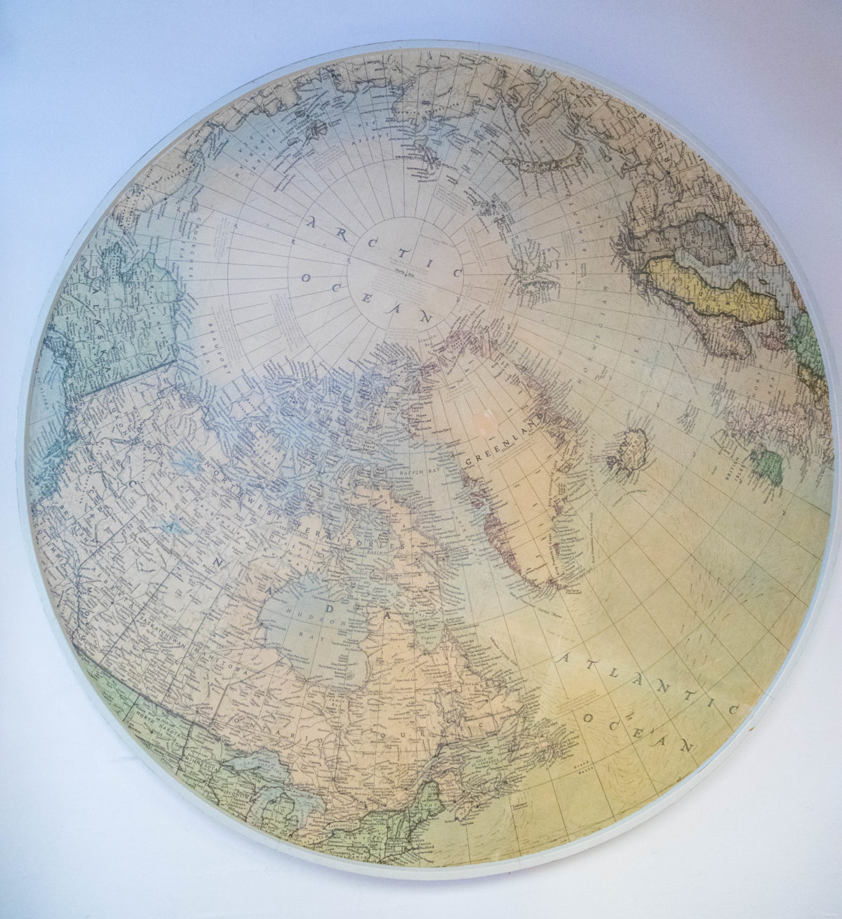 carte du monde par le pôle nord