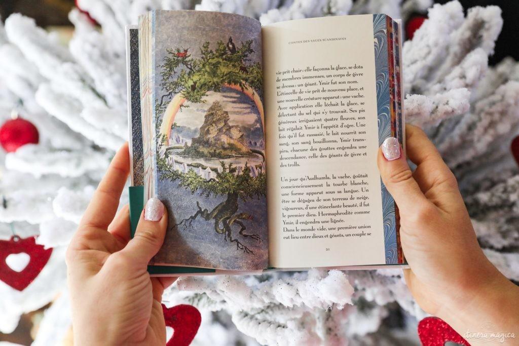 Un Noël scandinave, avec des livres sur le grand nord, des objets et des idées déco de Noël scandinave, et du maquillage coloré.