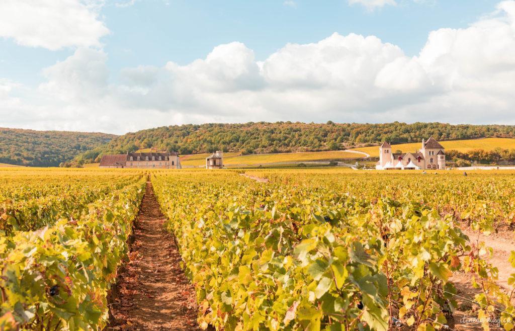 Sur la route des vins de Bourgogne en automne : le clos Vougeot