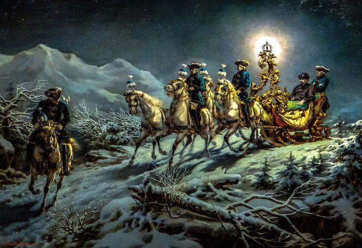 """""""Virée nocture en traîneau du roi Louis II. dans les montagnes"""", R. Wenig, 1885. L'oeuvre est exposée à Munich."""