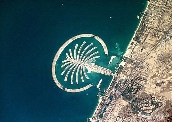 Vision satellite du Palm Jumeirah. Source : Wikipedia Commons.
