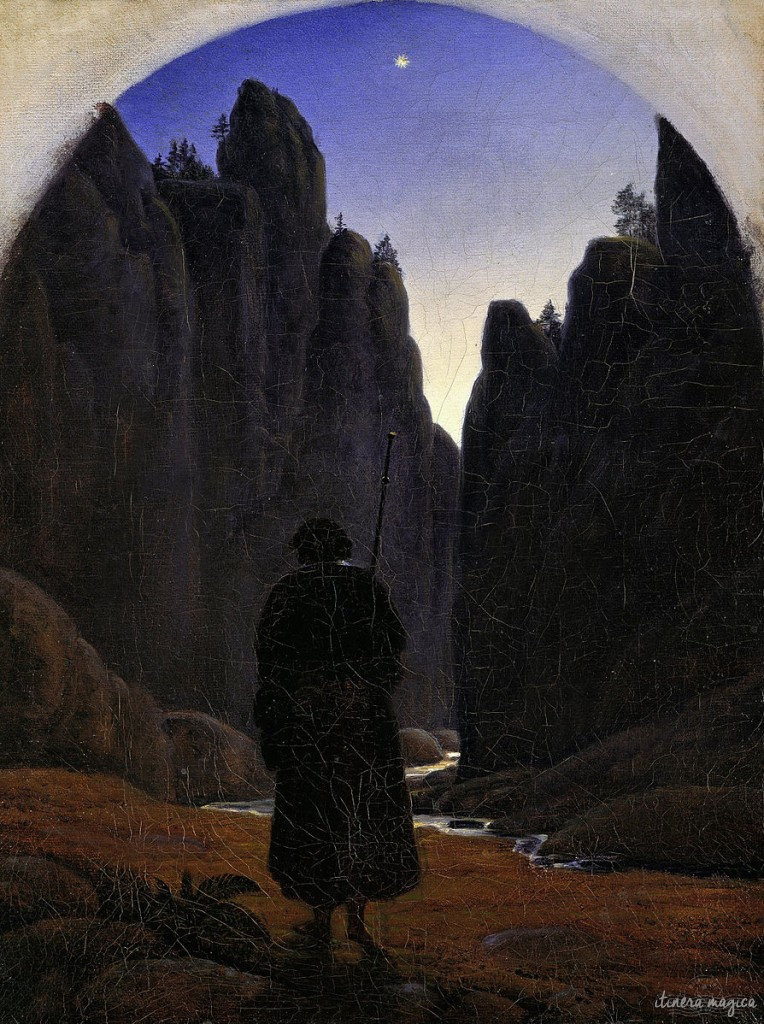 Me, hiking towards En-Vau. (Actually: Pilgrim in a Rocky Valley, by the German Romantic painter Gustav Carus. Google Art project.)