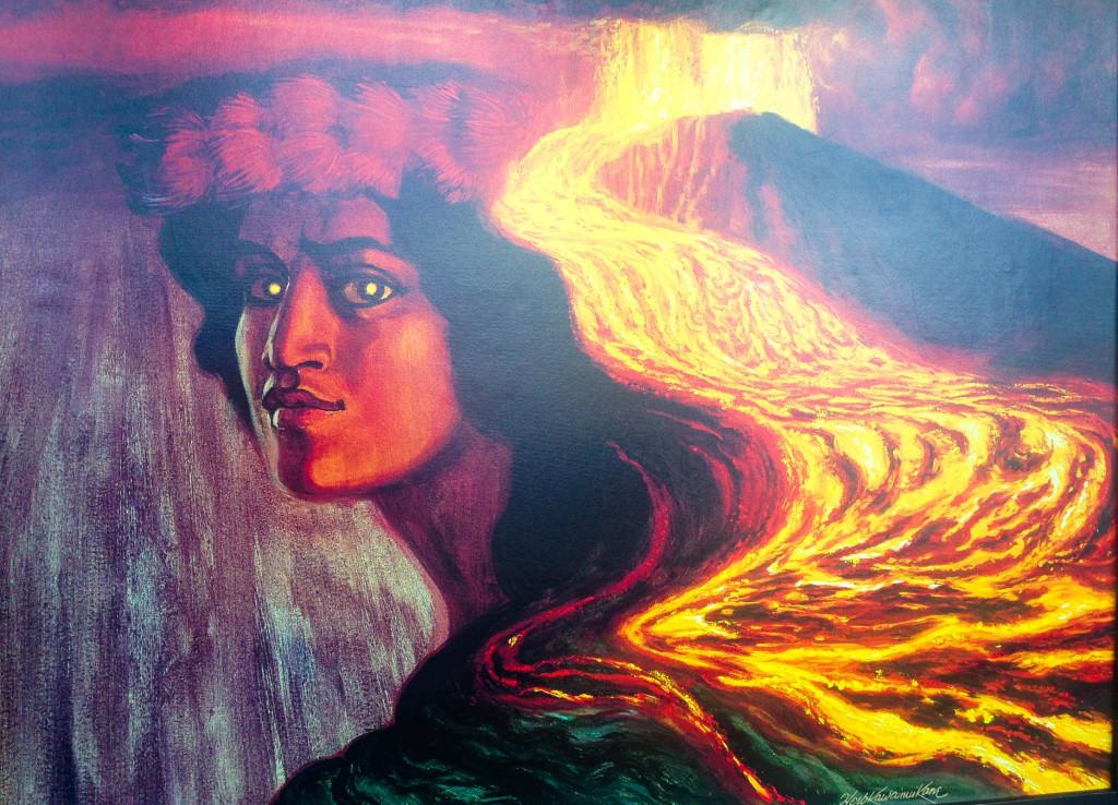 La déesse Pélé - vue d'artiste exposée au Jagger Museum.