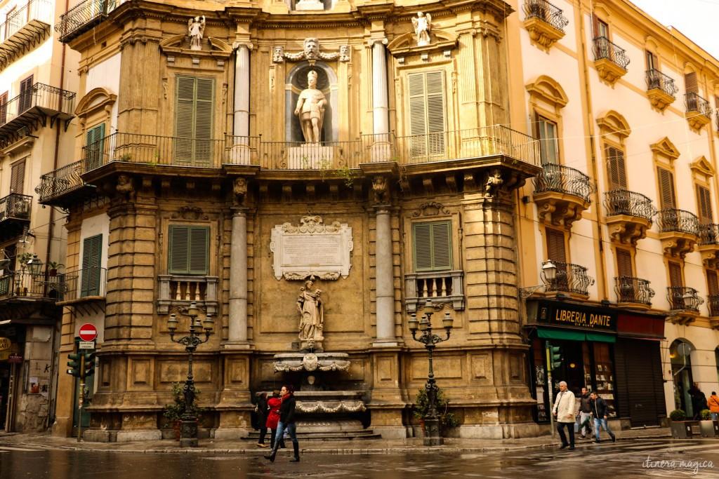 Einer der vier barocken Brunnen der Quattro Canti.