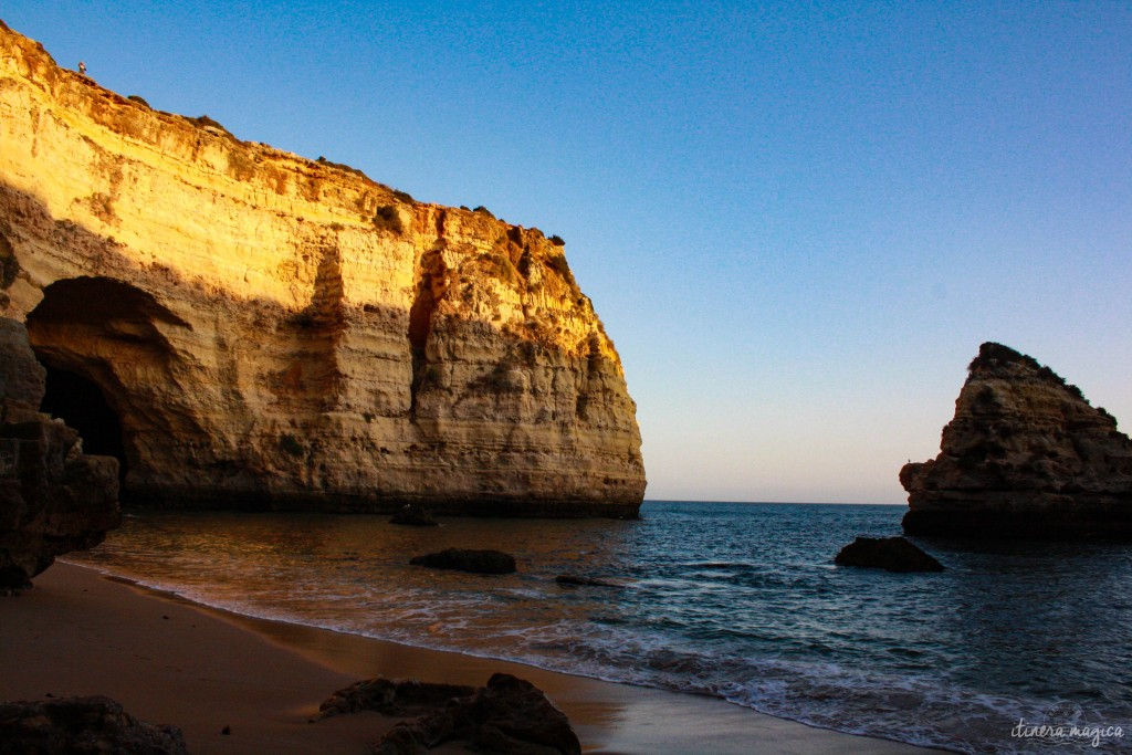 Caves in Algarve, at sunset.