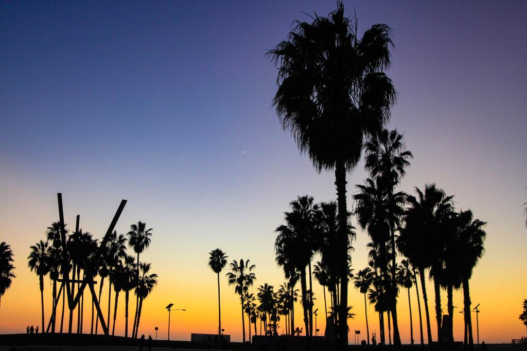 Crépuscule à Venice Beach.