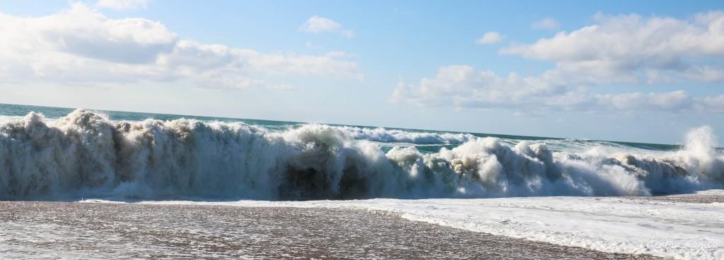 Impressive shore break in Hossegor, France.
