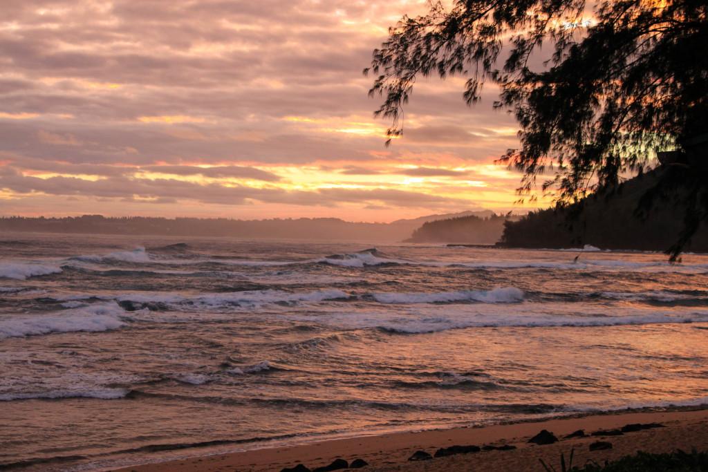 Soleil couchant à Kauai.