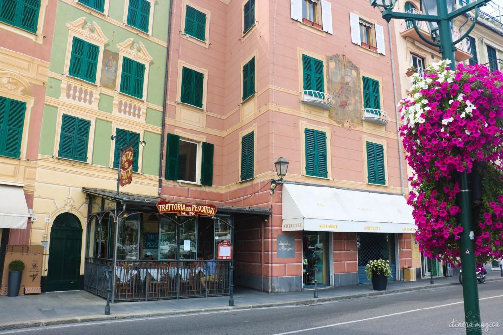 Scène de rue et fleurs à Santa Margherita Ligure.