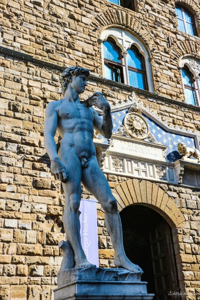 Le David de Michel-Ange (copie placée devant le Palazzo Vecchio. L'original est à la Galerie de l'Académie.)