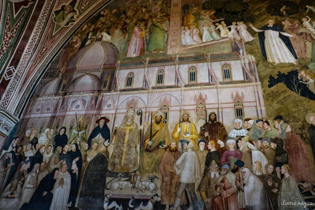 Fresque d'Andrea da Firenze. En bas, à droite, Laure, Béatrice et Fiametta, les muses de Pétrarque, Dante et Boccace.