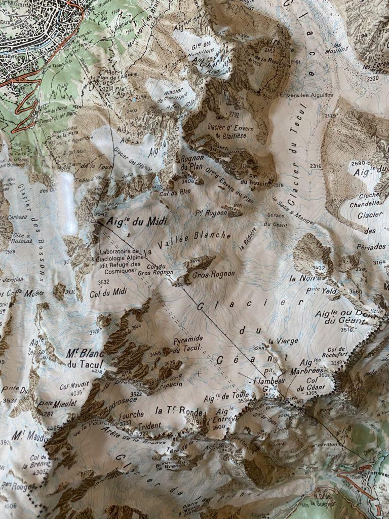 Carte de la vallée Blanche