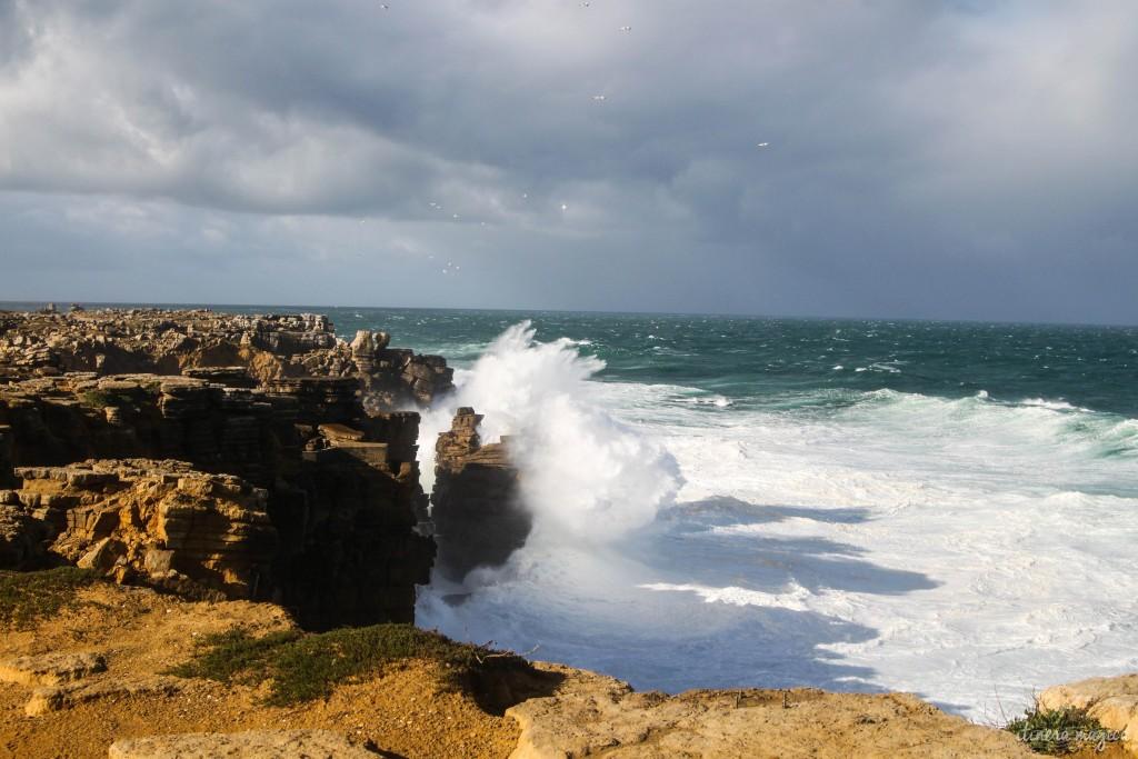 Crashing waves.