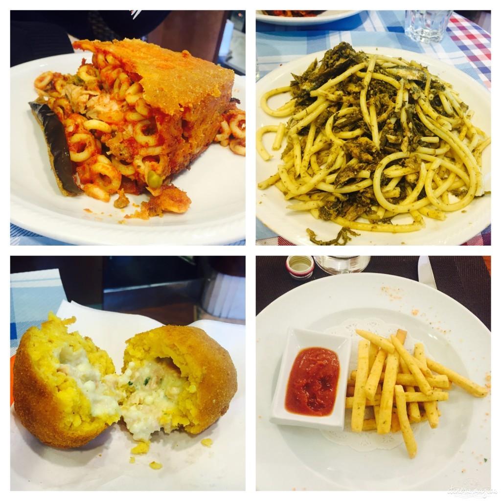 Sizilianische Spezialitäten, wie man sie überall und günstig bekommt: oben Auberginen-Pastakuchen und Spaghetti mit Sardinen, unten Arancini und Patelle.