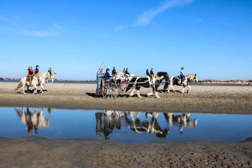 Spiegelbilder am Oststrand der Saintes Maries de la Mer.