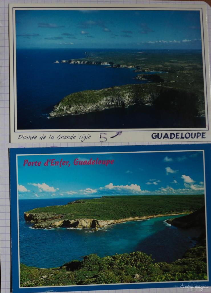 Cartes postales de la Pointe d'Enfer et de la Grande Vigie collées dans mon carnet d'enfant.