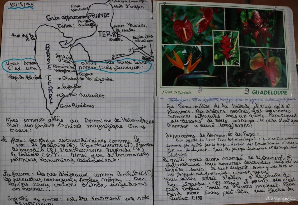 Extrait de mon cahier, au sujet des merveilleux jardins de la Guadeloupe.