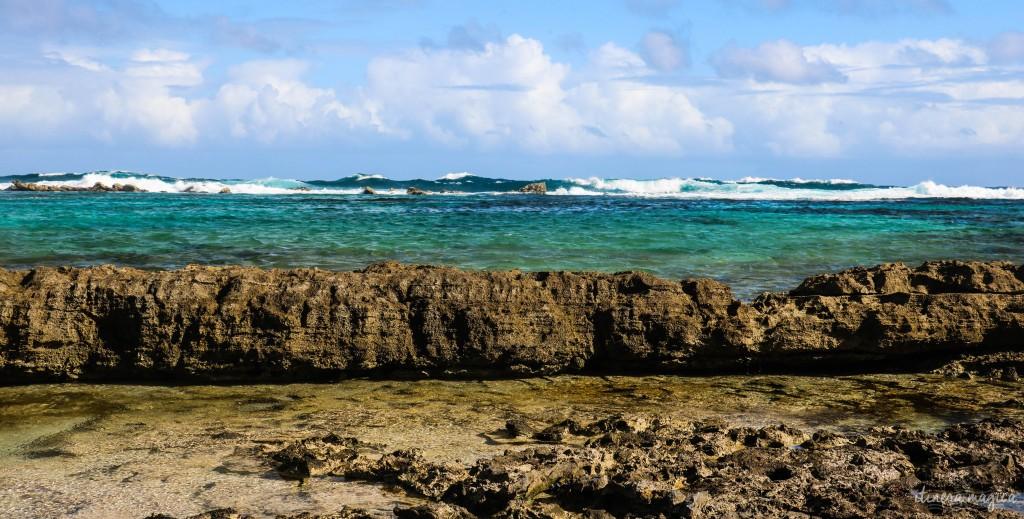 Frontière entre l'eau furieuse et les mares protégées par les récifs.