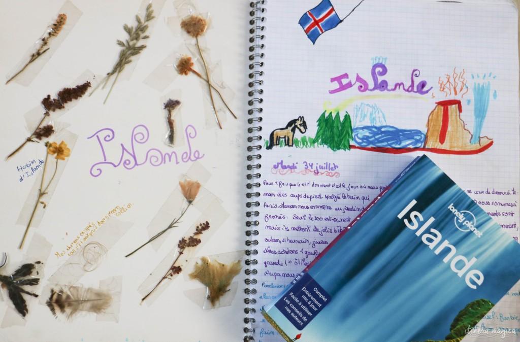Début de mon carnet d'Islande, avec un herbier.