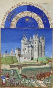 Le château de Saumur, tel que représenté par les Très riches heures du duc de Berry, au XVe siècle. Source : Wikipedia Commons.