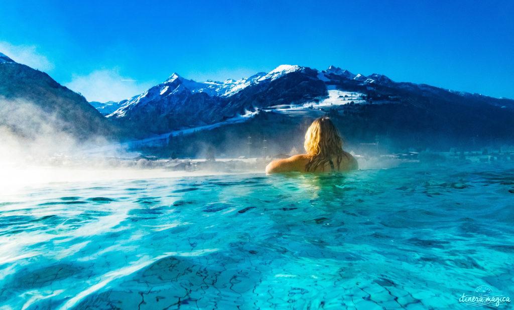 Le meilleur hôtel spa d'Autriche ? Le Tauern Spa Kaprun. Fabuleuse piscine donnant sur les Alpes, saunas, grand luxe, parc aquatique alpin de rêve. Infinity pool in Austria