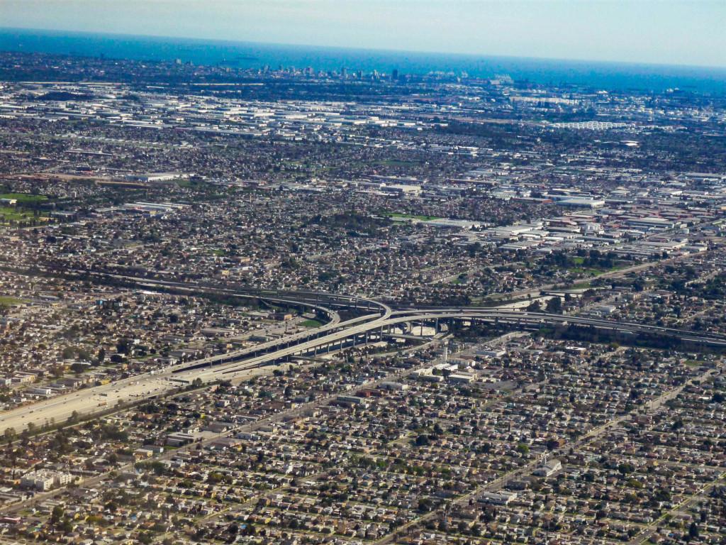 Serpentines des freeways, comme partout à L.A.