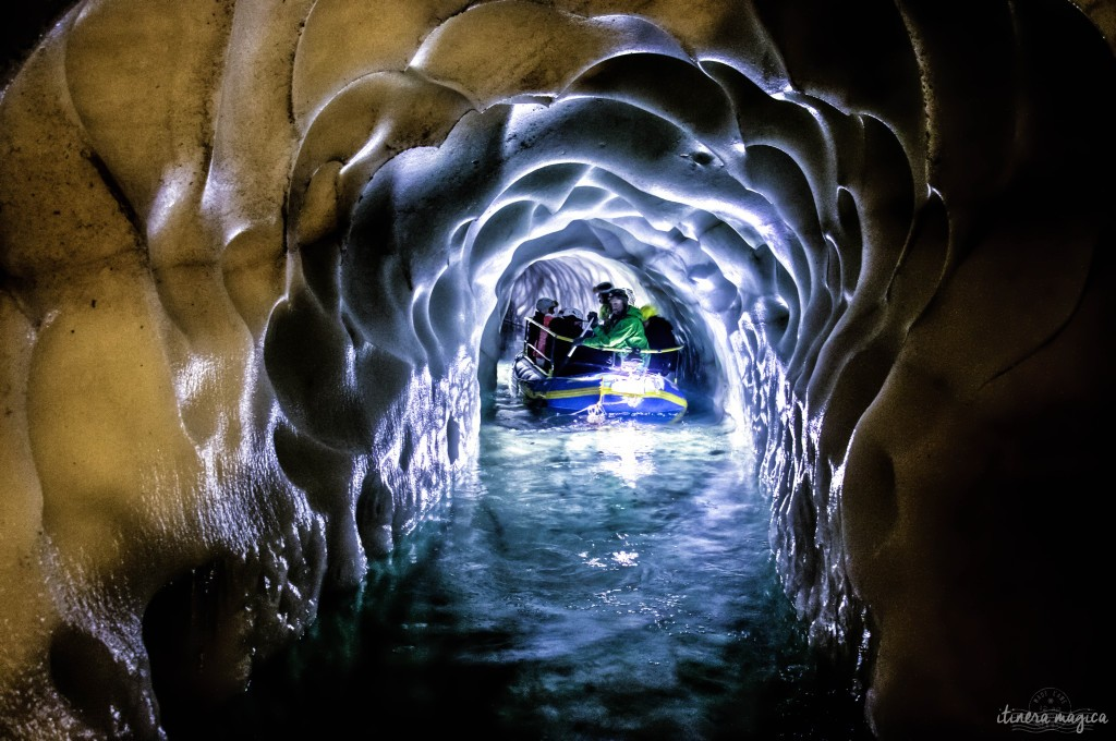 Underground river in an ice cave. Hintertux, Austria. Planning the perfect winter trip to Austria? Best experiences and things to see in the Austrian Alps.