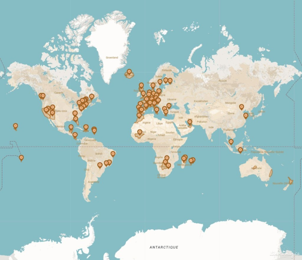 Carte des voyages d'Itinera Magica