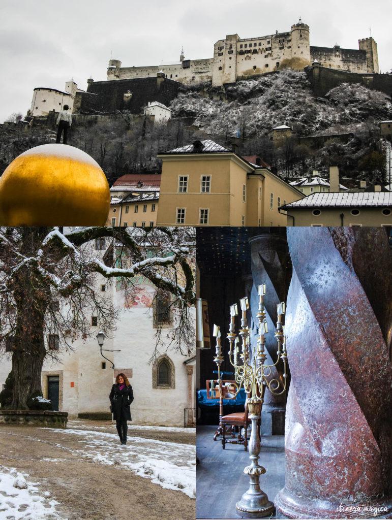 Forteresse de Salzbourg. Itinéraire romantique en Autriche : un voyage de rêve entre Salzbourg, Innsbruck, le château Hohenwerfen, les cascades de Krimml et un hôtel spa romantique.