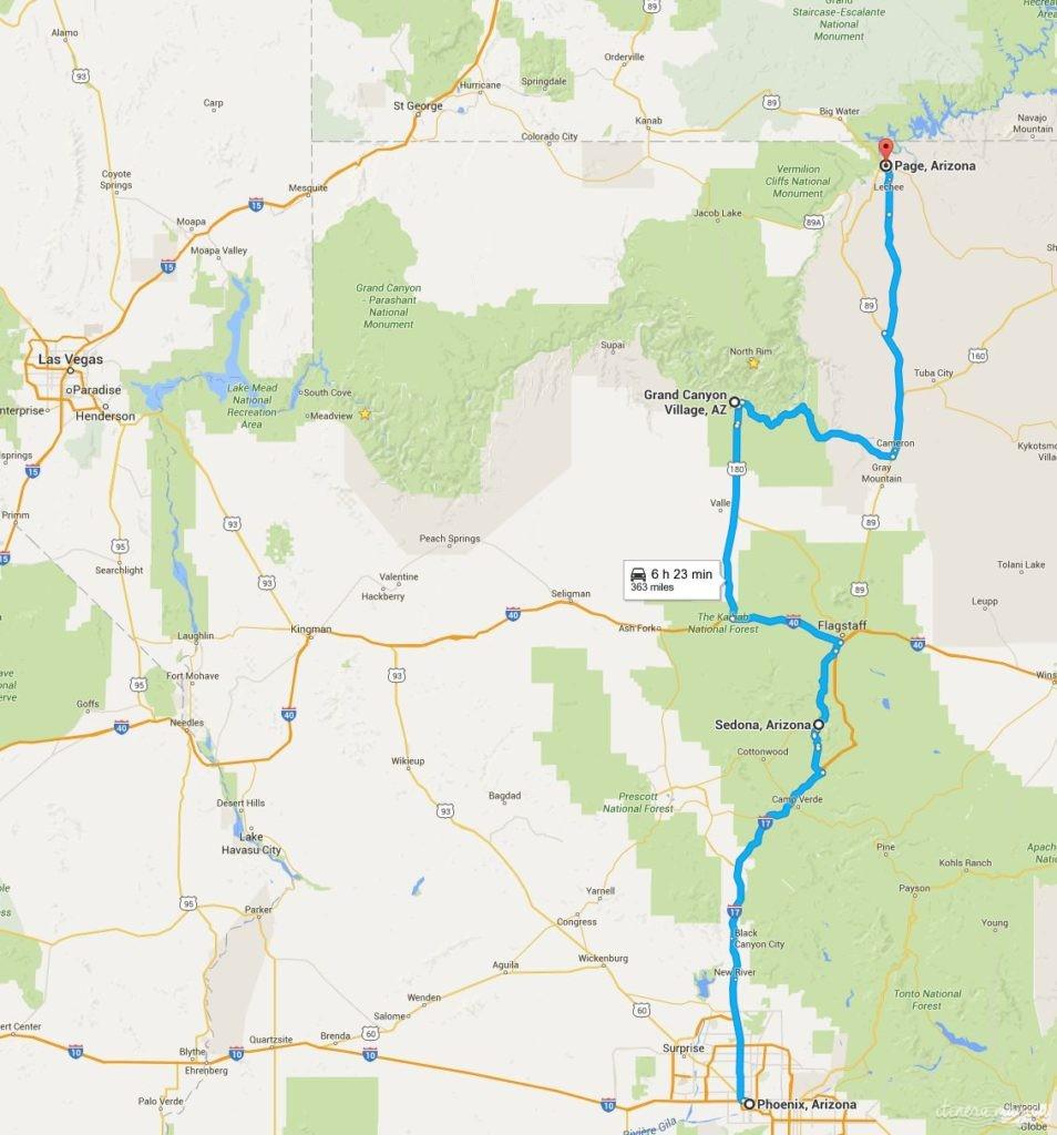 Mon itinéraire : Phoenix, Sedona, Grand Canyon Village, Page.