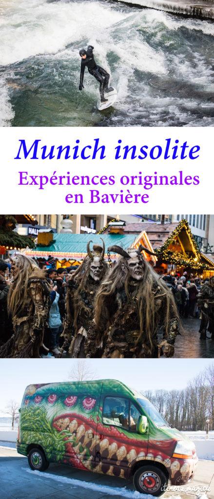 Munich insolite ? Expériences originales en Bavière et à Munich : surf urbain, patinage sur lac gelé, tyrolienne dans les Alpes, Krampus, musée de l'imaginaire, thermes d'Erding...