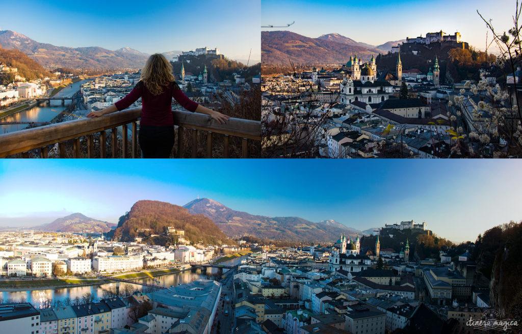 Salzbourg, point de vue depuis le Mönchsberg. Itinéraire romantique en Autriche : un voyage de rêve entre Salzbourg, Innsbruck, le château Hohenwerfen, les cascades de Krimml et un hôtel spa romantique.