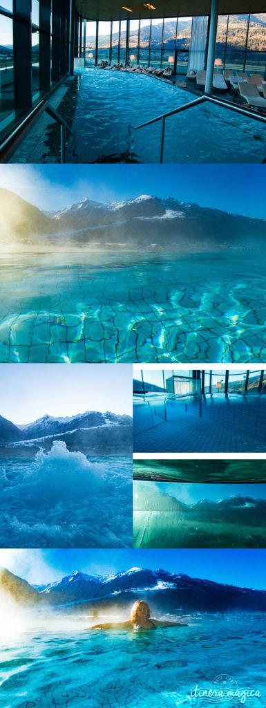 Le meilleur hôtel spa d'Autriche ? Le Tauern Spa Kaprun. Fabuleuse piscine donnant sur les Alpes, saunas, grand luxe, parc aquatique alpin de rêve. Best infinity pool in Austria