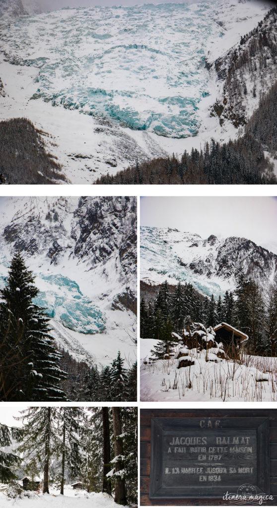 Hameau des Pélerins et glacier, Chamonix